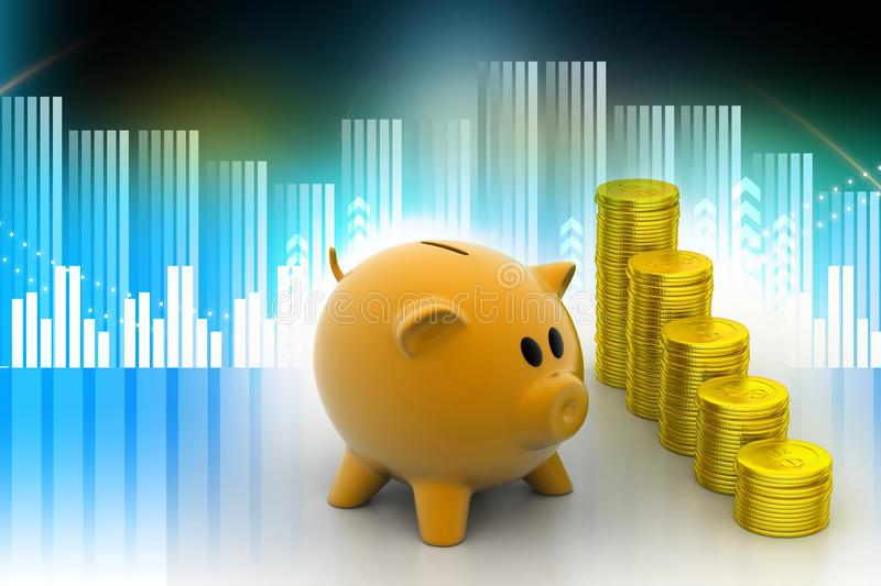 Piggy bank with gold coins stock illustration