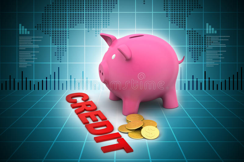 Piggy bank with gold coins. In color background vector illustration