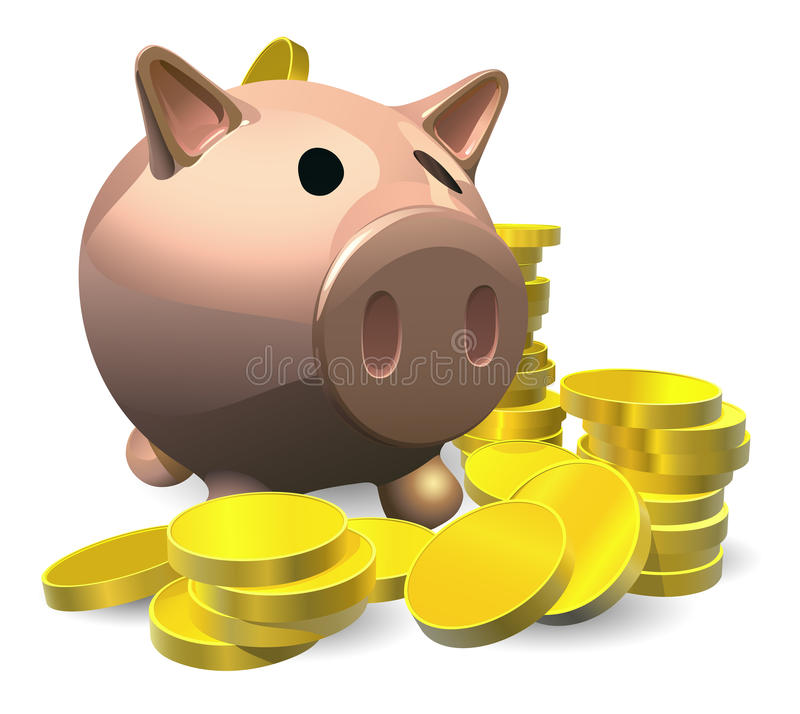 Download Piggy Bank With Gold Coins Illustration Stock Vector - Image: 22002642