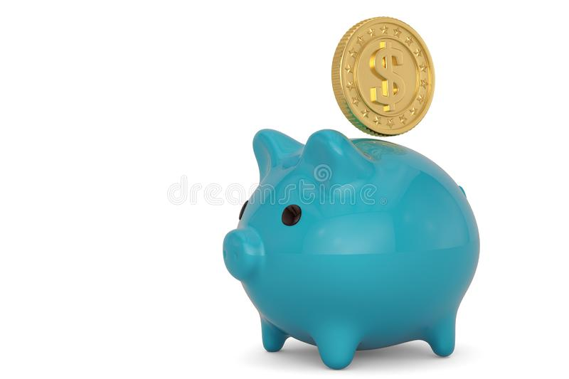 Piggy bank and gold coins investment concept isolated on white background. 3D illustration.  vector illustration
