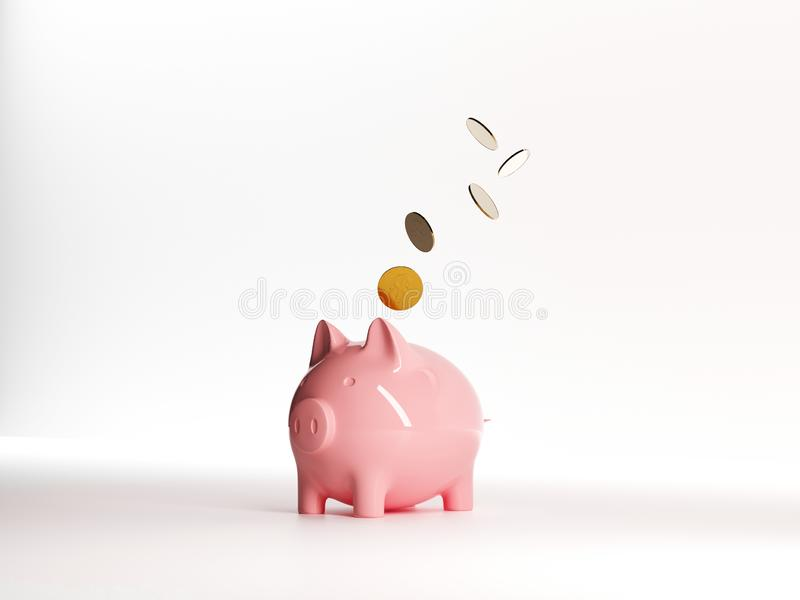 Piggy bank and Gold coins. Realistic vector moneybox. For advertising sale. Investment income, real estate and banking. Pink pig toy on white background. New vector illustration