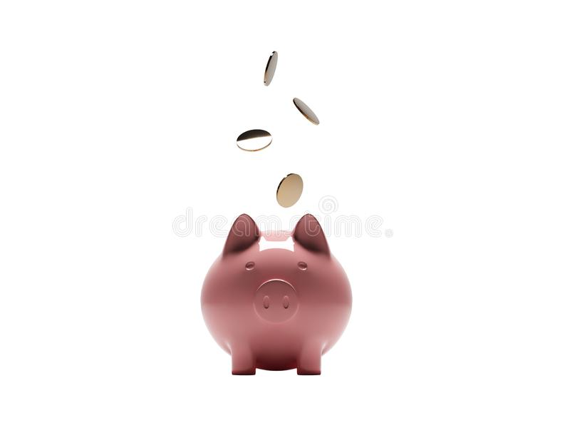 Piggy bank with gold dollar coins. Realistic rendering illustration. Piggy bank with gold dollar coins. Isolated on white background. Symbol of profitable new royalty free illustration