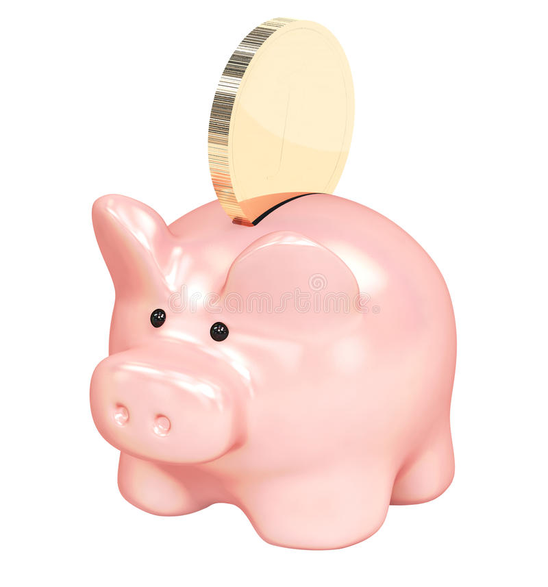 Piggy Bank And Golden Coin Royalty Free Stock Photos