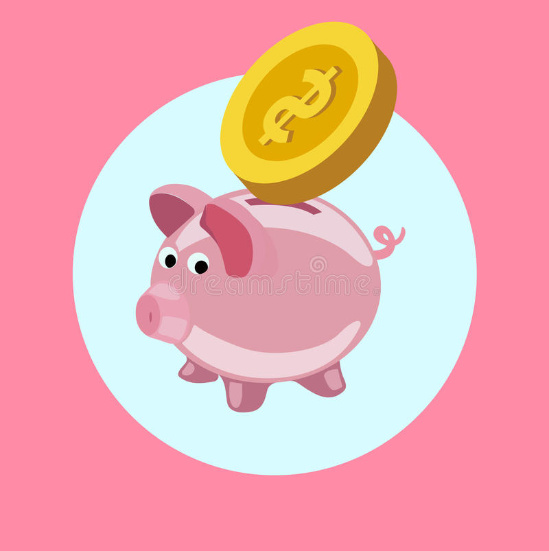 Piggy bank with golden coin flat design vector. Icon royalty free illustration