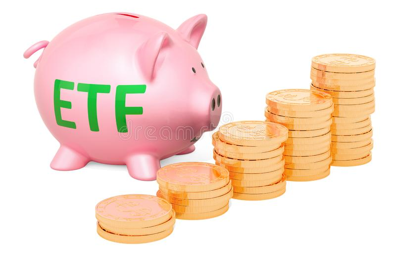 Piggy bank with golden coins. An exchange-traded fund ETF conc royalty free illustration