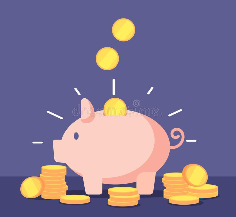 Piggy bank with golden coins. Save money deposit banking and investment vector concept with money box stock illustration