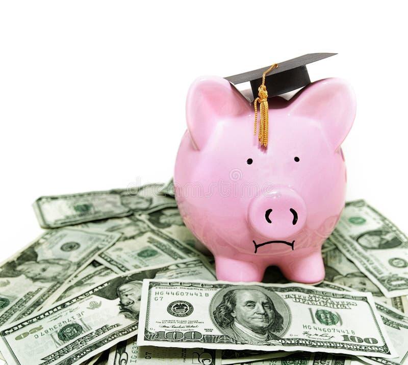 Piggy bank with graduation cap. Frowning piggy bank with graduation cap, on cash royalty free stock photos