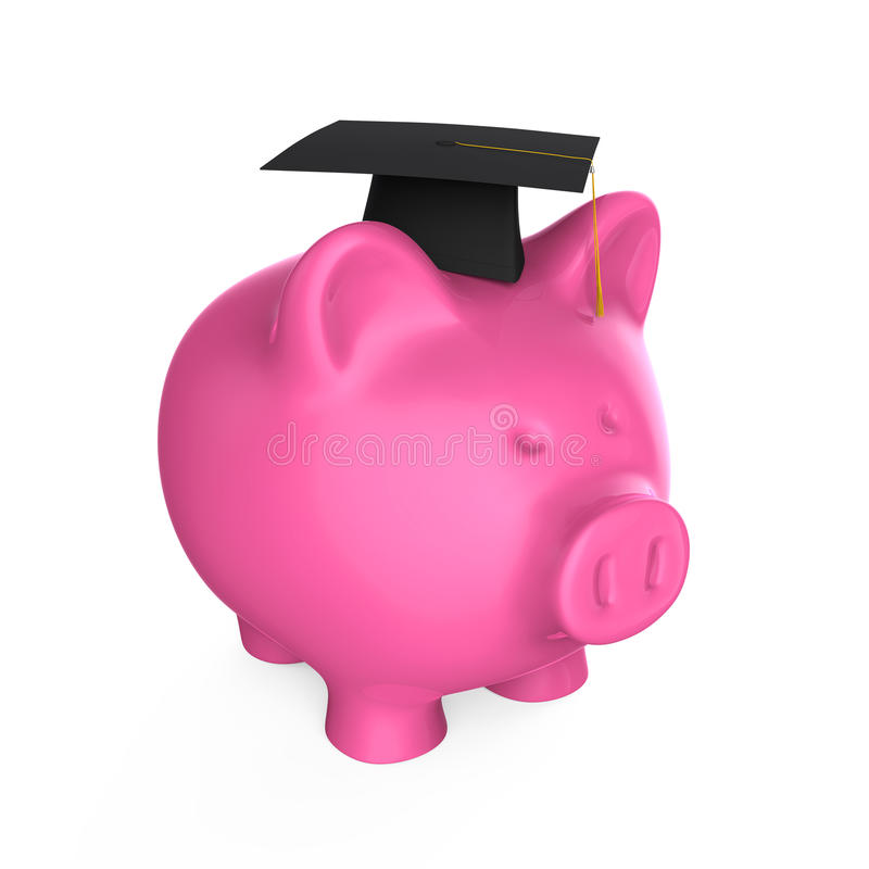 Piggy Bank with Graduation Cap vector illustration