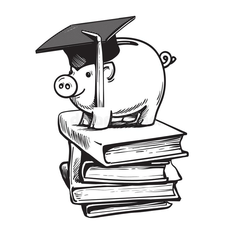 Piggy bank in Graduation hat on stack of books. Saving plan for education, student loan, financial aid concept. Hand stock illustration