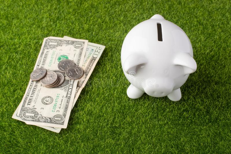 A piggy bank on a grass background with dollars and quarter coins. A concept of saving money. Saving. view from above.  royalty free stock photos