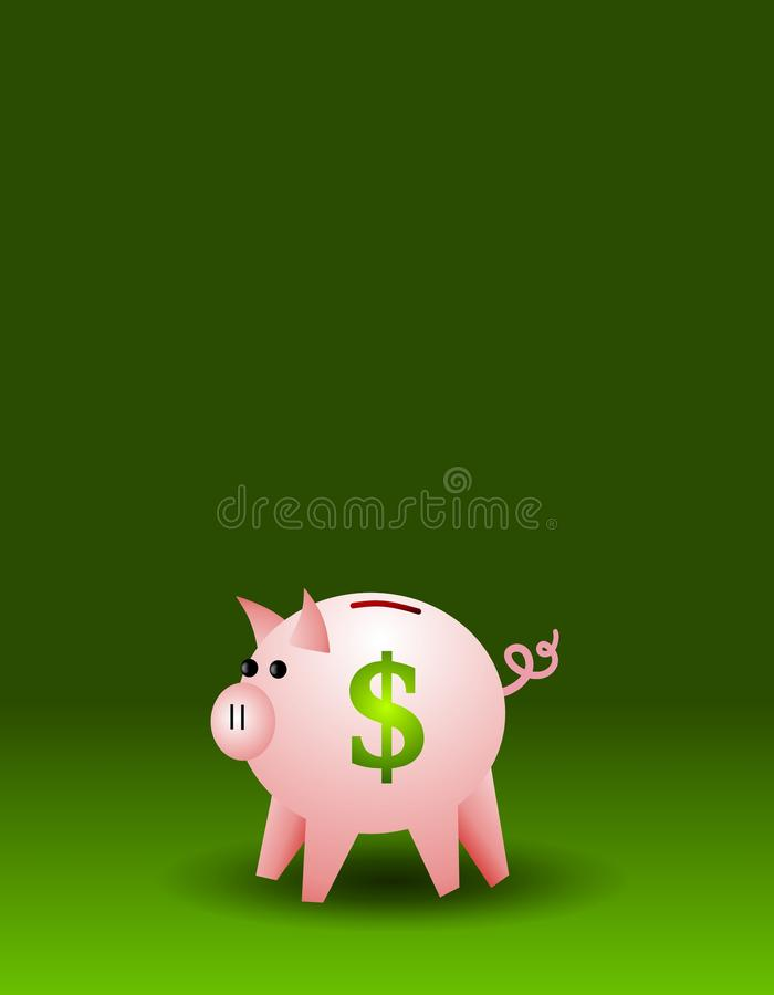 Piggy Bank on Green Background. A background featuring a piggy bank sitting against a green gradient background royalty free illustration