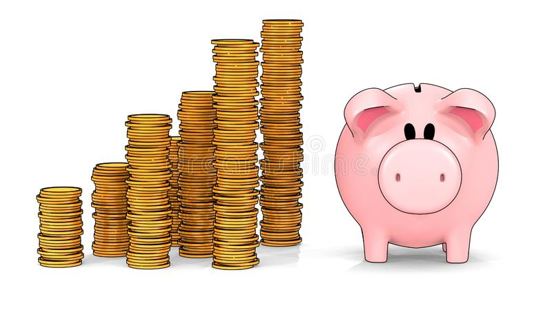 Piggy bank and growing stacks of coins in cel shading style - 3D illustration stock illustration