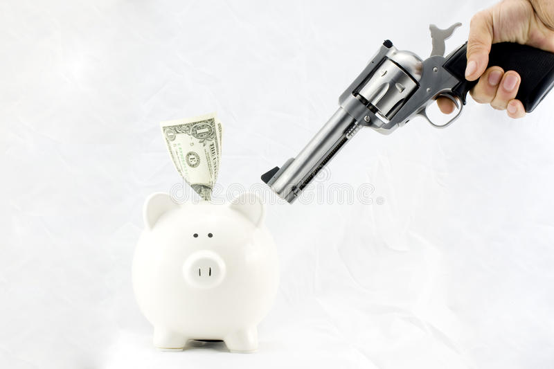 Download Piggy Bank at Gunpoint stock photo. Image of handgun - 12657506