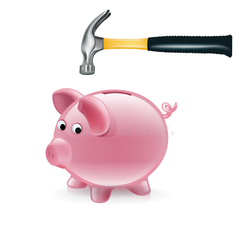 Piggy bank and hammer on white stock illustration