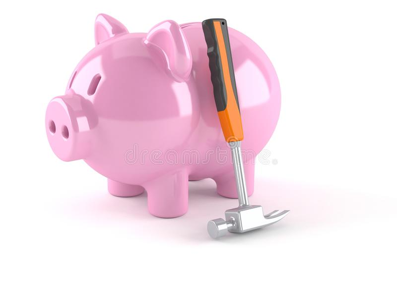 Piggy bank with hammer royalty free illustration