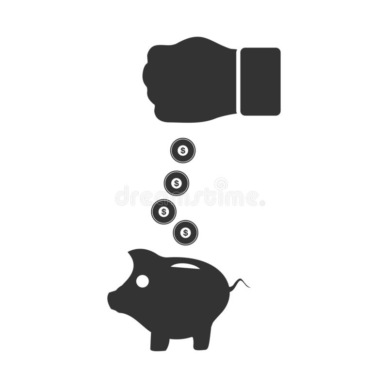 Piggy bank and hand with coin icon flat royalty free illustration