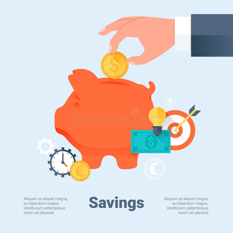 Piggy Bank with Hand and Coin. Saving Money and Investment Business Concept. Flat Style with Long Shadows. Material Design. royalty free illustration