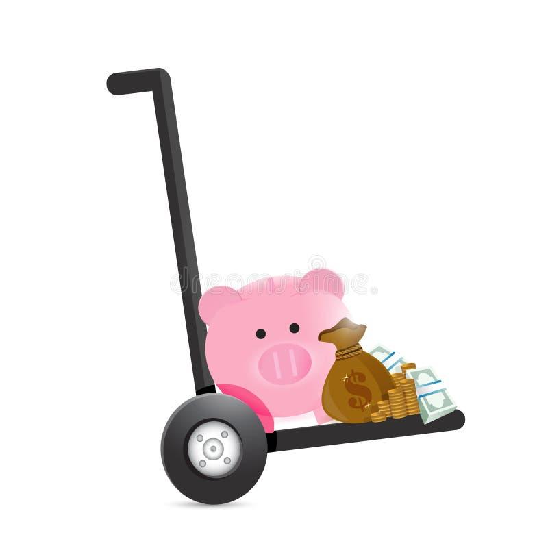 Piggy bank handtruck royalty free illustration