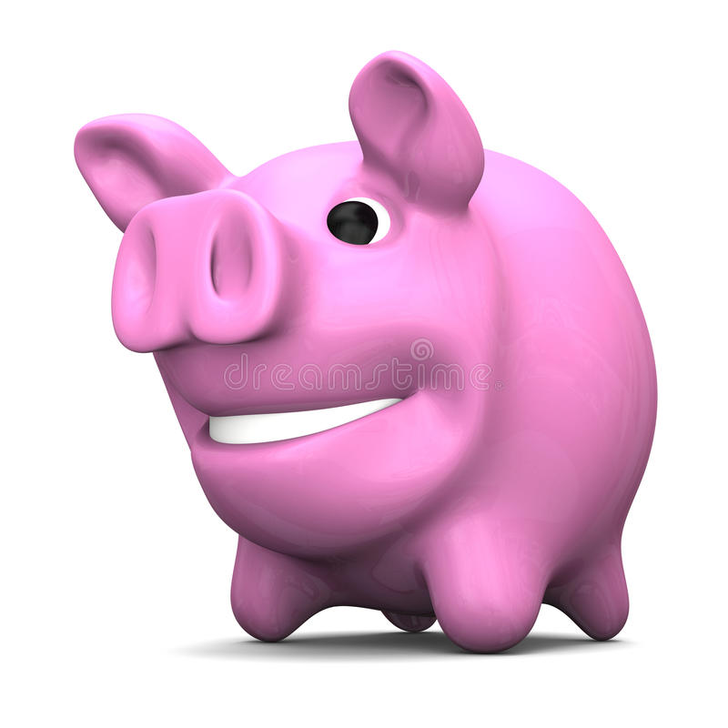 Piggy bank. Happy pink piggy bank, concept of savings and investments, on white background vector illustration