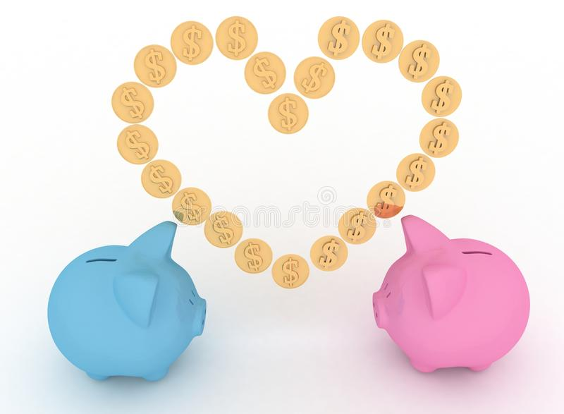 Piggy-bank With Heart Stock Images