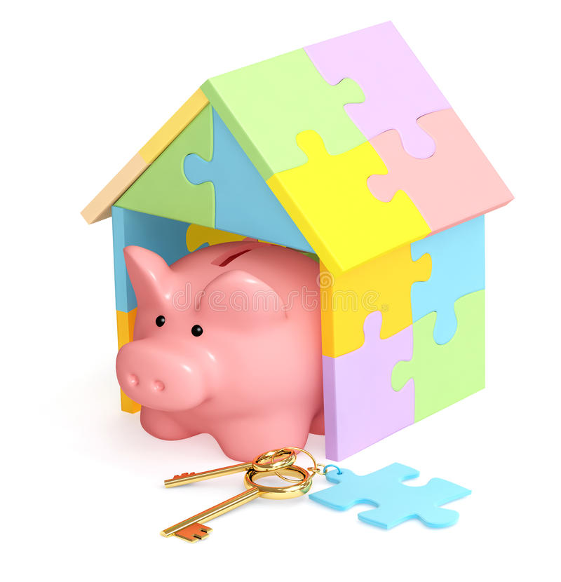 Piggy bank, house and key. S. Isolated over white royalty free illustration