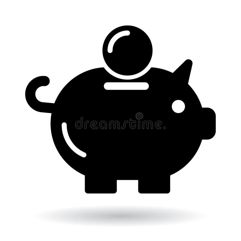 Piggy bank icon black vector illustration
