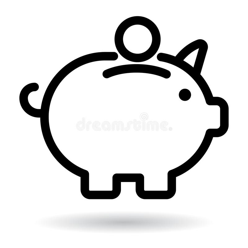 Piggy bank icon black. Editable vector illustration on isolated white background stock illustration