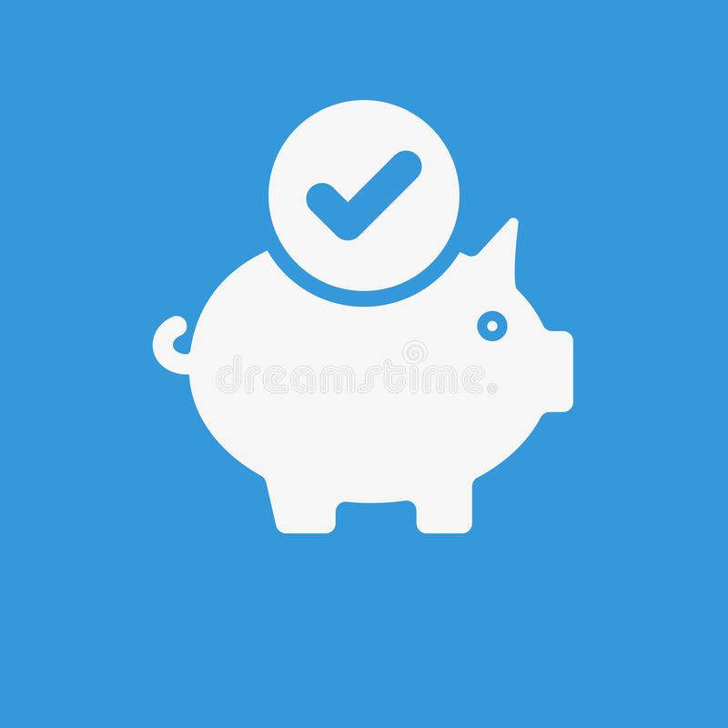 Piggy bank icon, business icon with check sign. Piggy bank icon and approved, confirm, done, tick, completed symbol stock illustration
