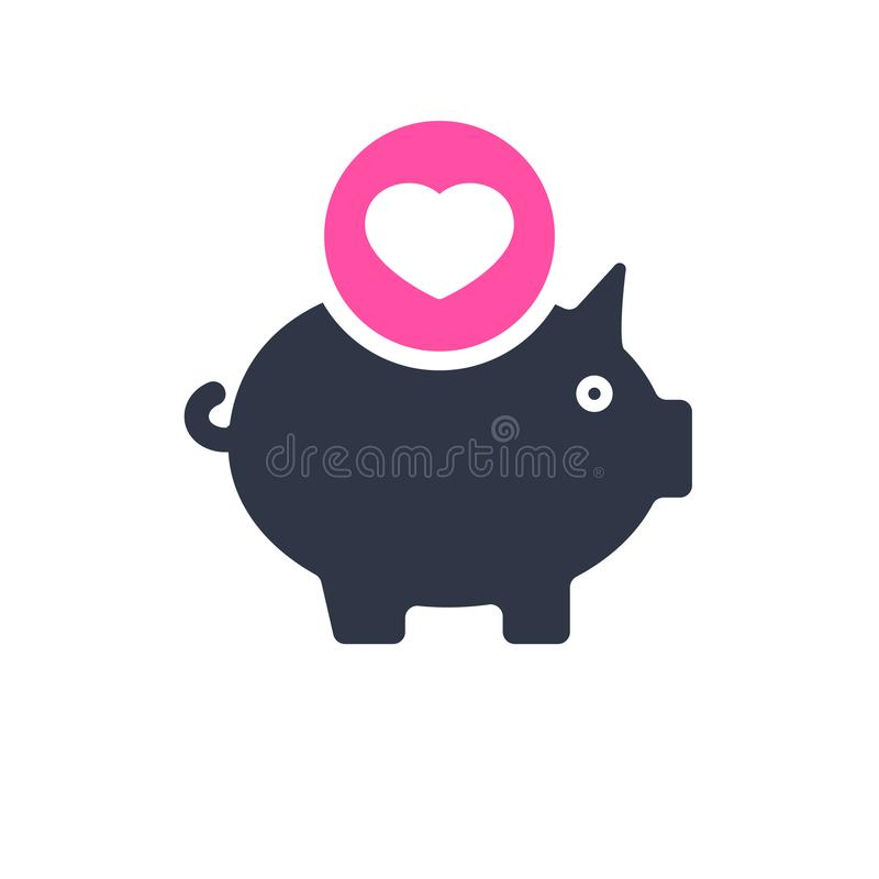 Free Piggy Bank Icon, Business Icon With Heart Sign. Piggy Bank Icon And Favorite, Like, Love, Care Symbol Stock Photo - 119008720
