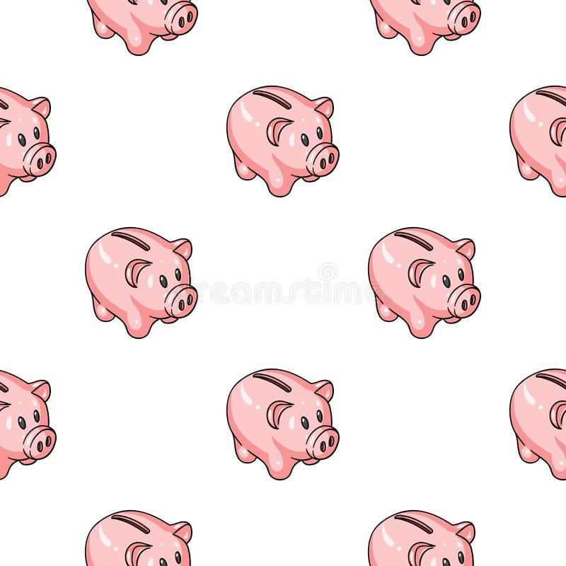 Piggy bank icon in cartoon style isolated on white background. Money and finance pattern stock vector illustration. Piggy bank icon in cartoon style isolated on stock illustration