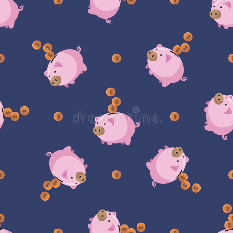 Piggy bank icon in flat style isolated on white background. Seamless pattern stock vector illustration vector illustration