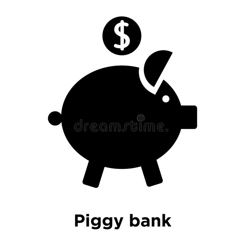 Piggy bank icon vector isolated on white background, logo concept of Piggy bank sign on transparent background, black filled vector illustration