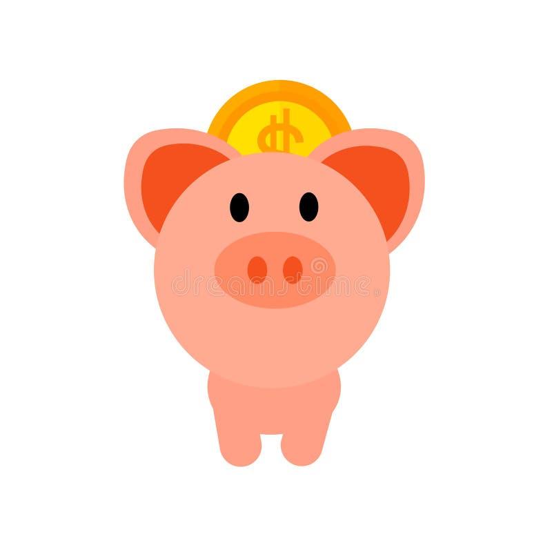Piggy bank icon vector isolated on white background, Piggy bank sign , insurance symbols stock illustration