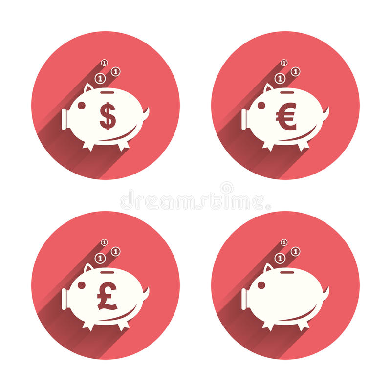 Piggy bank icons. Dollar, Euro, Pound moneybox. Piggy bank icons. Dollar, Euro and Pound moneybox signs. Cash coin money symbols. Pink circles flat buttons with royalty free illustration