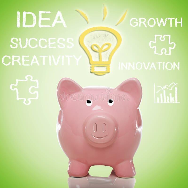 Piggy Bank with Idea Lightbulb