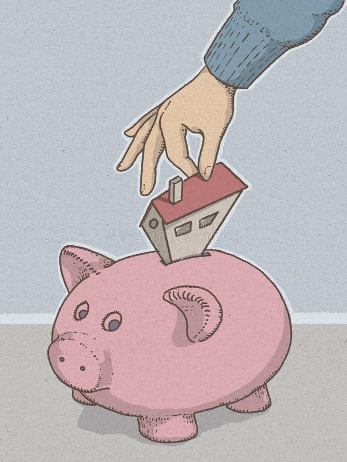 Piggy bank piggy bank illustartion with hand inserting money for economic savings. stock illustration