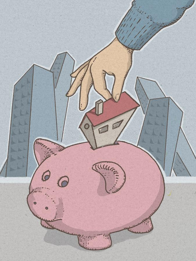 Piggy bank piggy bank illustartion with hand inserting money for economic savings. vector illustration