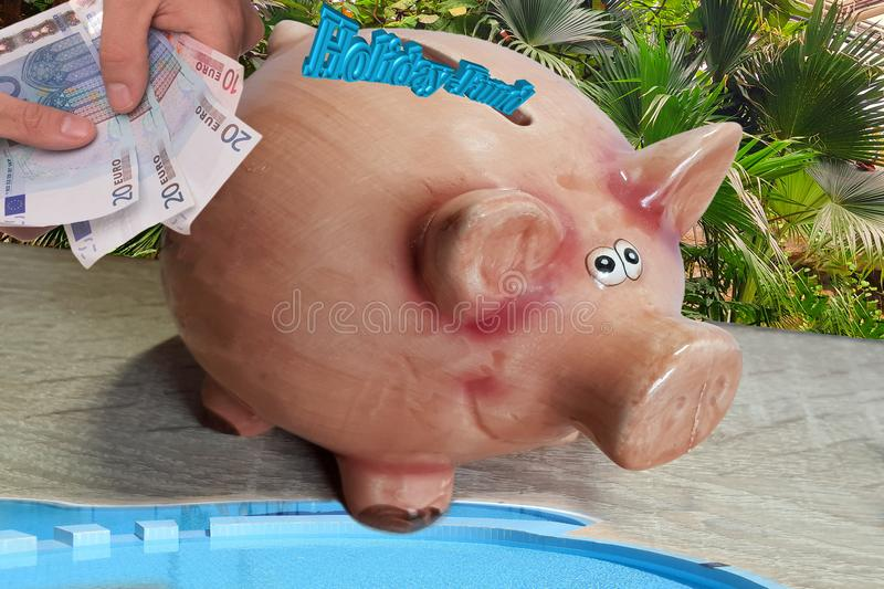 Piggy bank for holiday money. Piggy bank with inscription in English holiday fund royalty free stock image