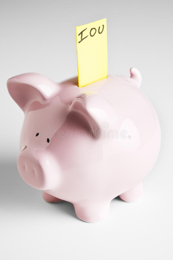 Piggy bank with IOU royalty free stock photos
