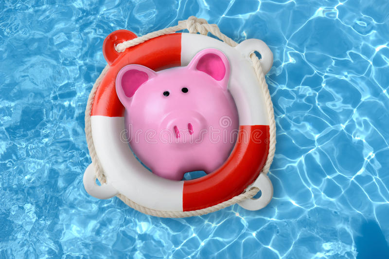 Piggy bank in a lifebuoy royalty free stock image