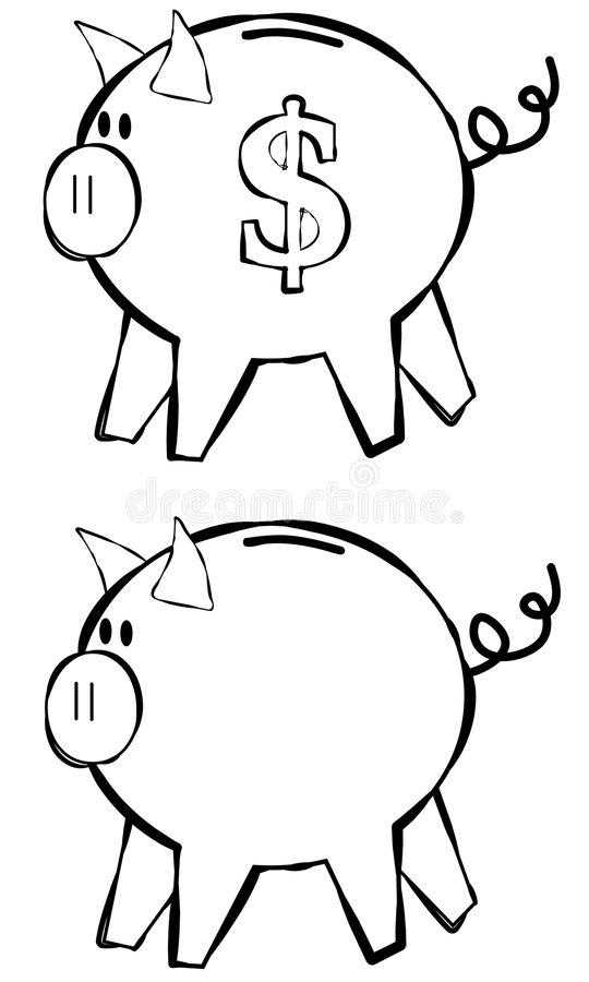 Piggy Bank Line Art. An illustration featuring your choice of piggy banks in black and white line art - perfect for projects where color is not an option or vector illustration