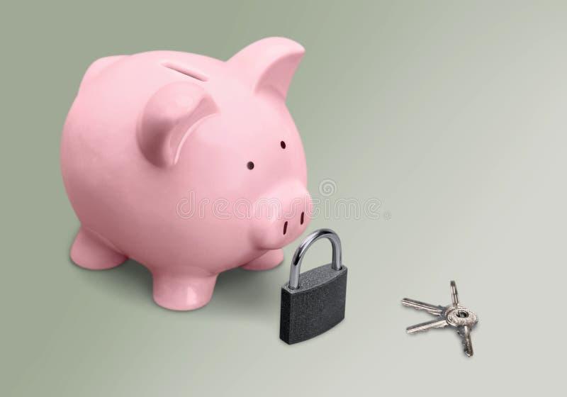 Piggy Bank. Lock Security Key Coin Bank Padlock Pink royalty free stock photos