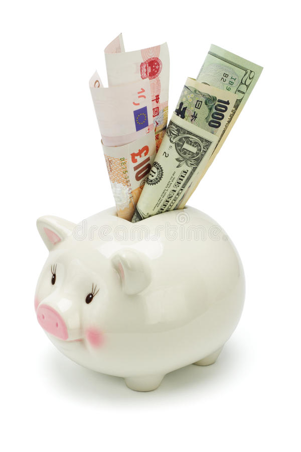 Download Piggy Bank And Major World Currency Notes Stock Photo - Image: 9600308