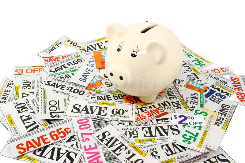 Download Piggy Bank With Many Grocery Coupons Royalty Free Stock Photo - Image: 22869595