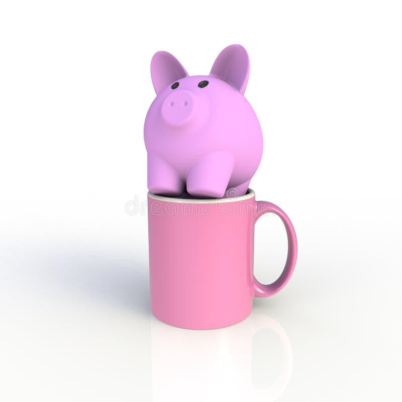 Piggy bank met roze koffiebeker geïsoleerd op witte achtergrond Malplaatje van de Mock omhoog voor toepassingsontwerp Apparatuur  vector illustratie