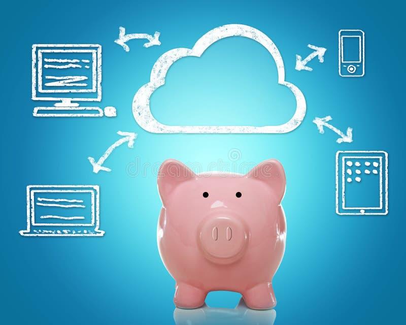 Wolke, die mit piggy Bank rechnet lizenzfreie stockfotografie