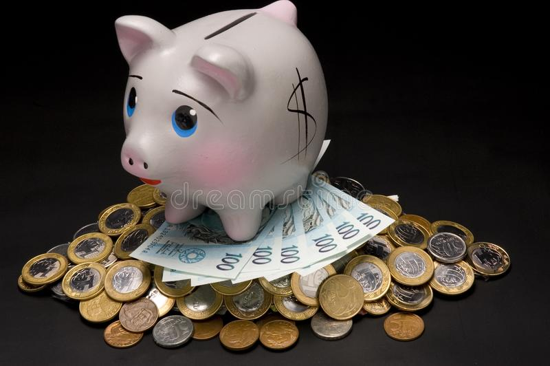 Download Piggy Bank with money stock photo. Image of full, home - 3320700