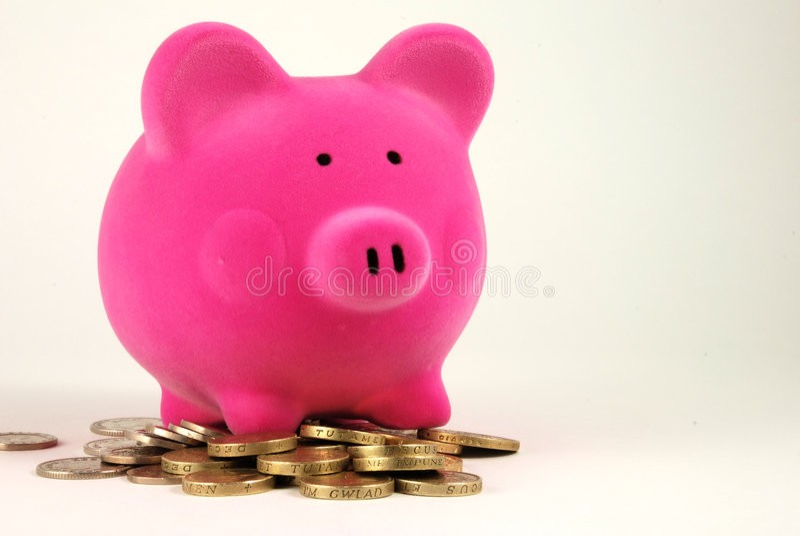 Piggy bank on Money royalty free stock photos