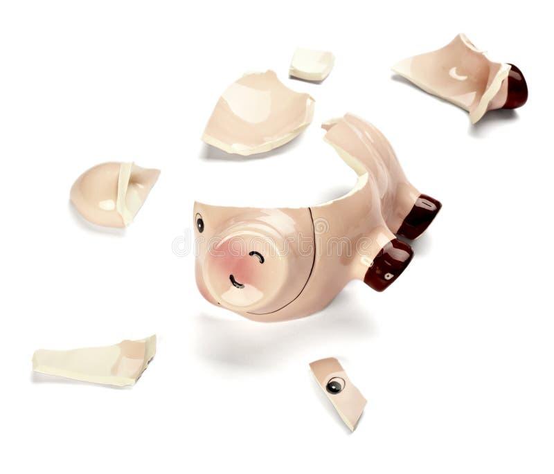 Piggy bank money savings finance broken hammer stock photography