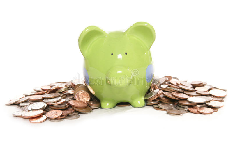 Piggy Bank Moneybox With British Currency Coins Royalty Free Stock Photos